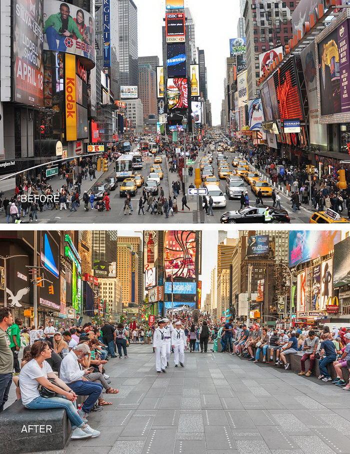 Таймс-Сквер в Нью-Йорке стал пешеходной зоной