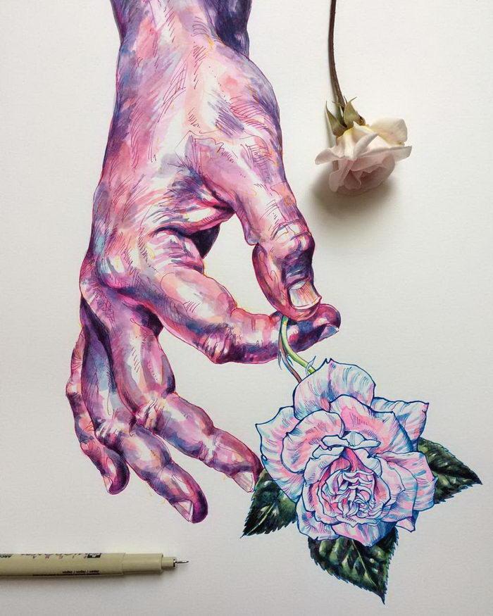 Руки и цветы: иллюстрации Noel Badges Pugh