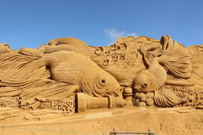 Песчаные скульптуры с фестиваля S?ndervig Sand Sculpture Festival