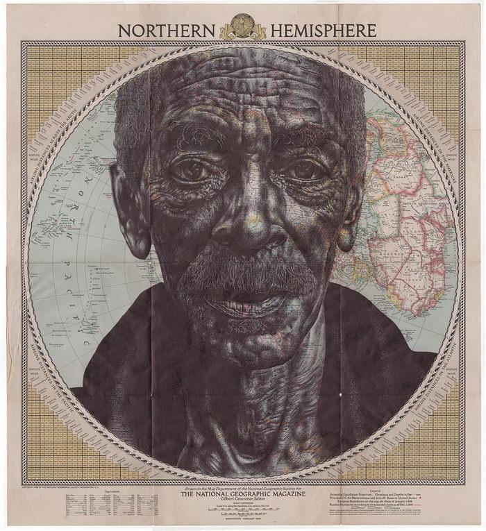 Портреты людей на старых картах Mark Powell