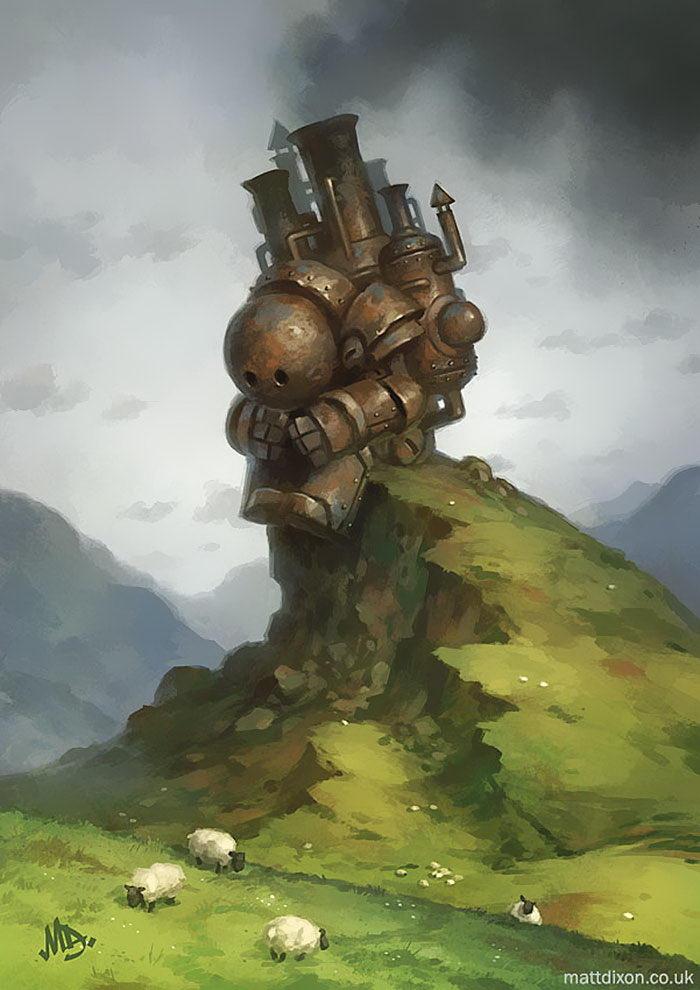 Одинокие роботы в рисунках Matt Dixon