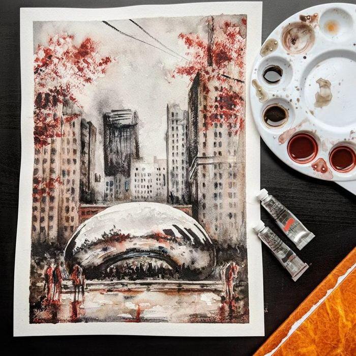 Прекрасный Чикаго в скетчах Angelina Ligomina