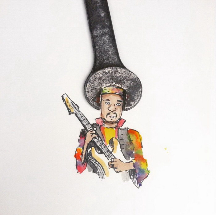 Коллажи из рисунков и повседневных предметов Mr.Kriss