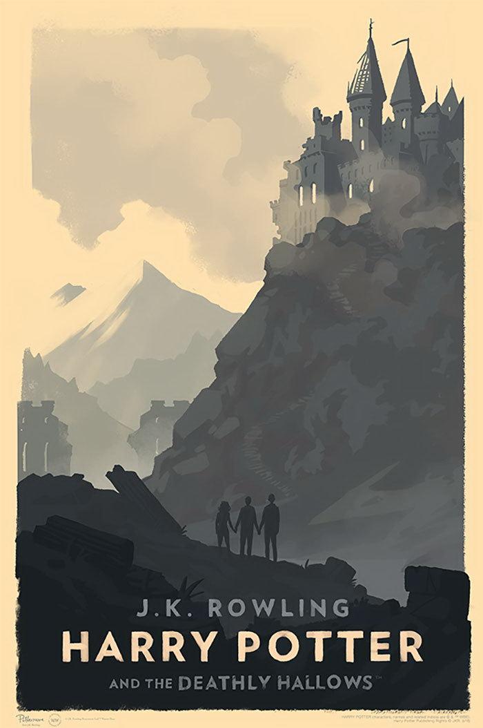 Винтажные обложки к книгам о Гарри Поттере авторства Olly Moss