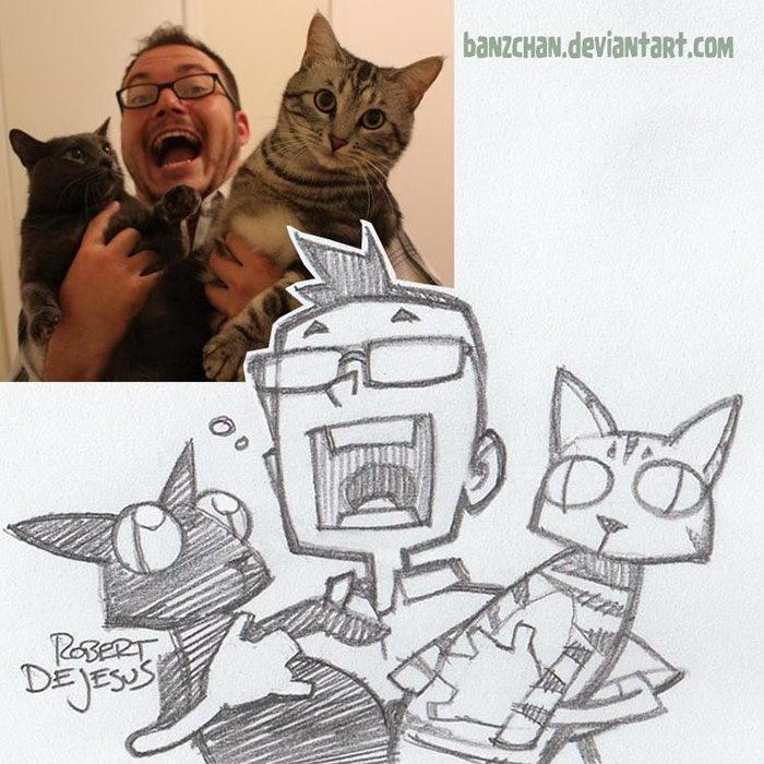Robert DeJesus превращает фотографии в мульткарикатуры