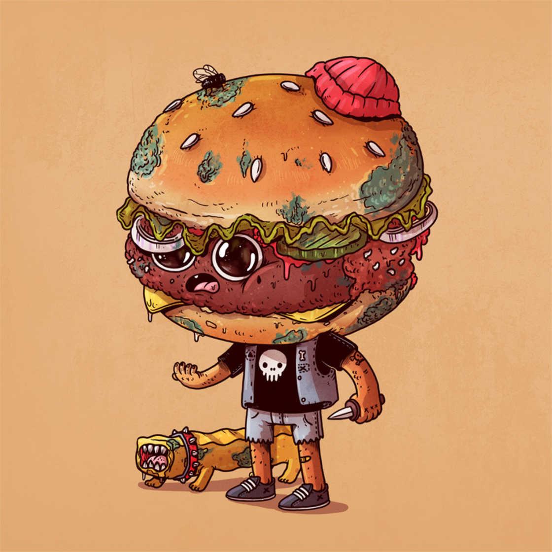 Агрессивный фастфуд в иллюстрациях Алекса Солиса