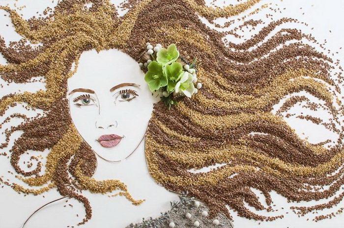 Коллажи из листьев и растений Sister Golden