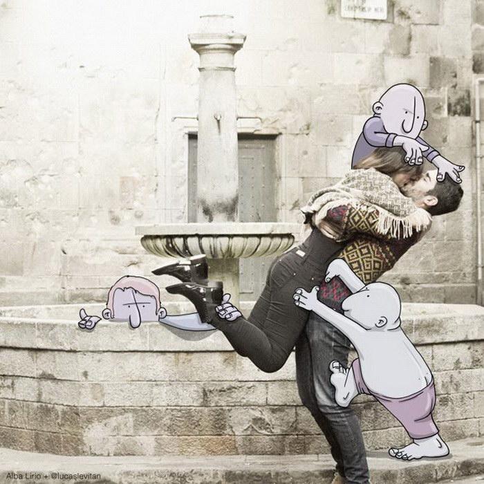 Смешные рисунки на фотографиях Lucas Levitan