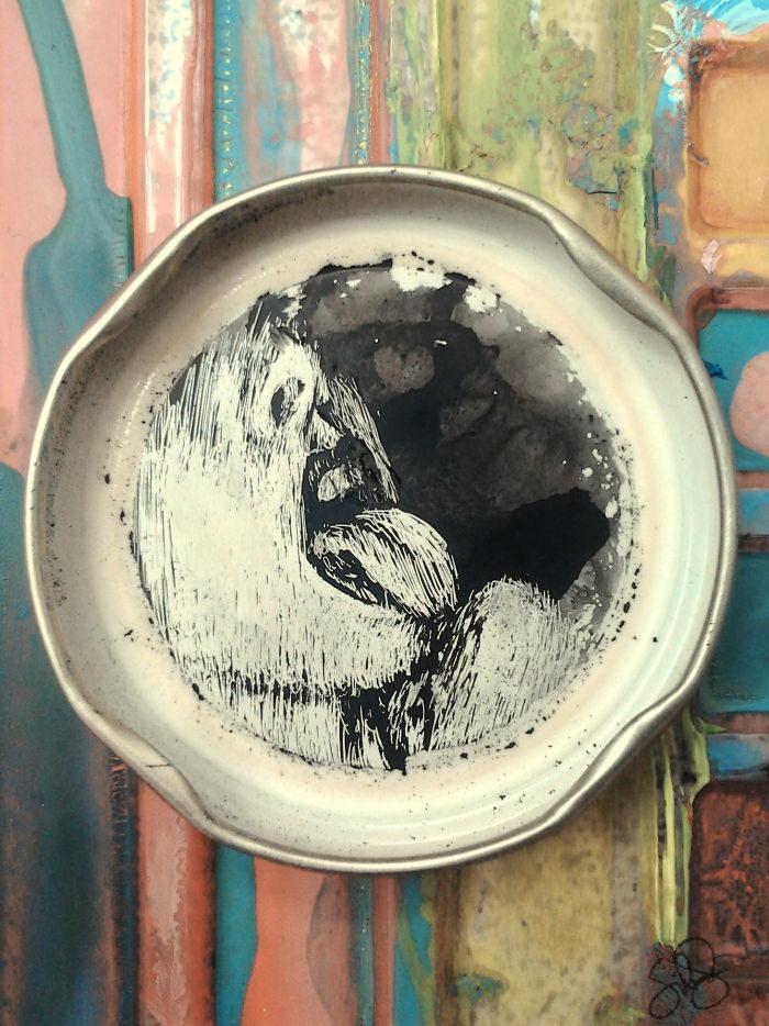 Рисунки на крышках от бутылок Sílvia Franco Santos