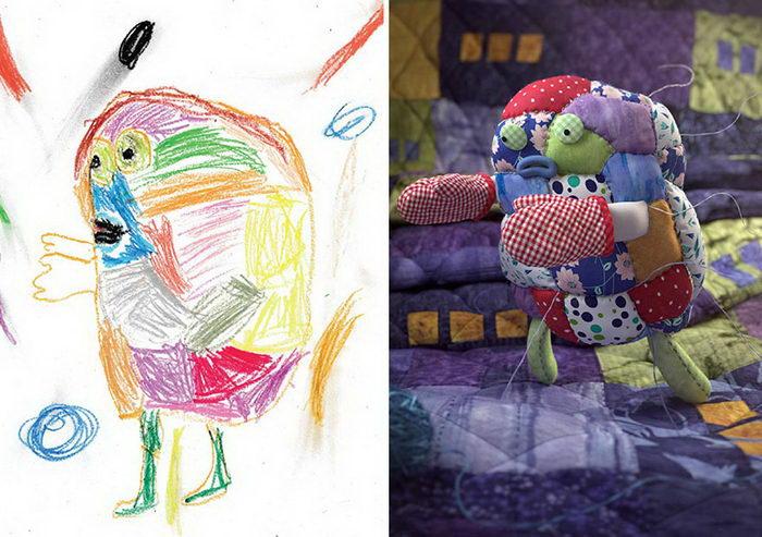 Детские каракули превращаются в полноценных монстриков