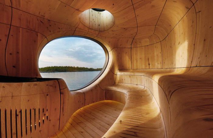 Сауна в гроте с видом на озеро Гурон