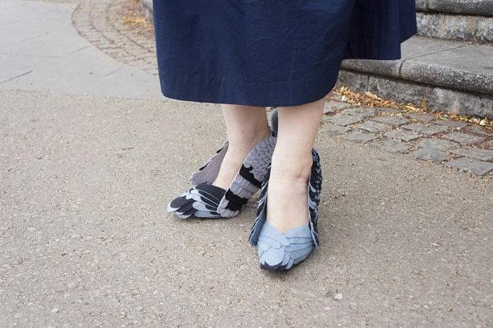 Туфли в виде уличных голубей: японский юмор