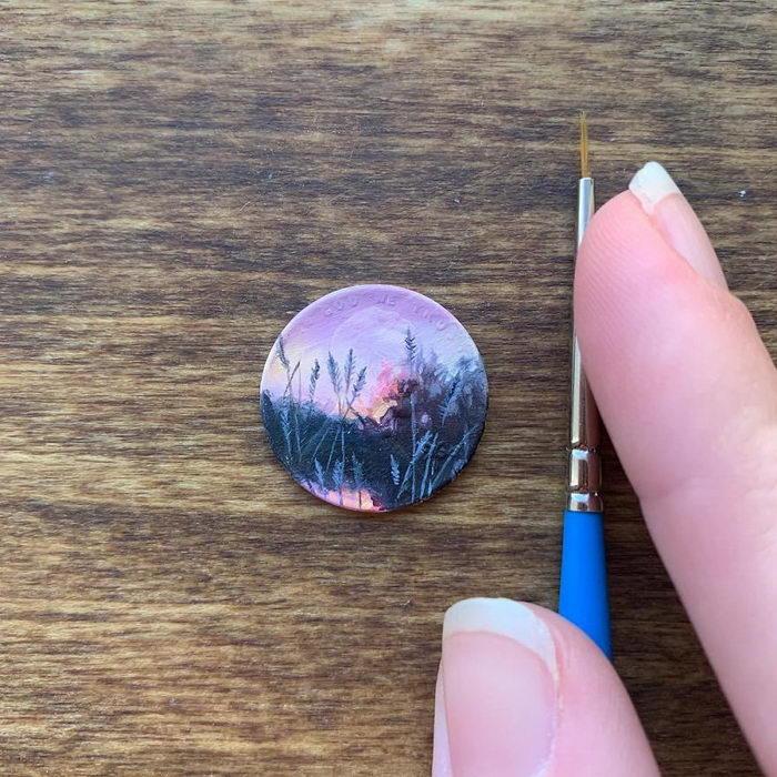 Рисунки маслом на монетках: проект Bryanna Marie