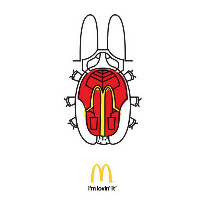 Известные бренды в виде насекомых