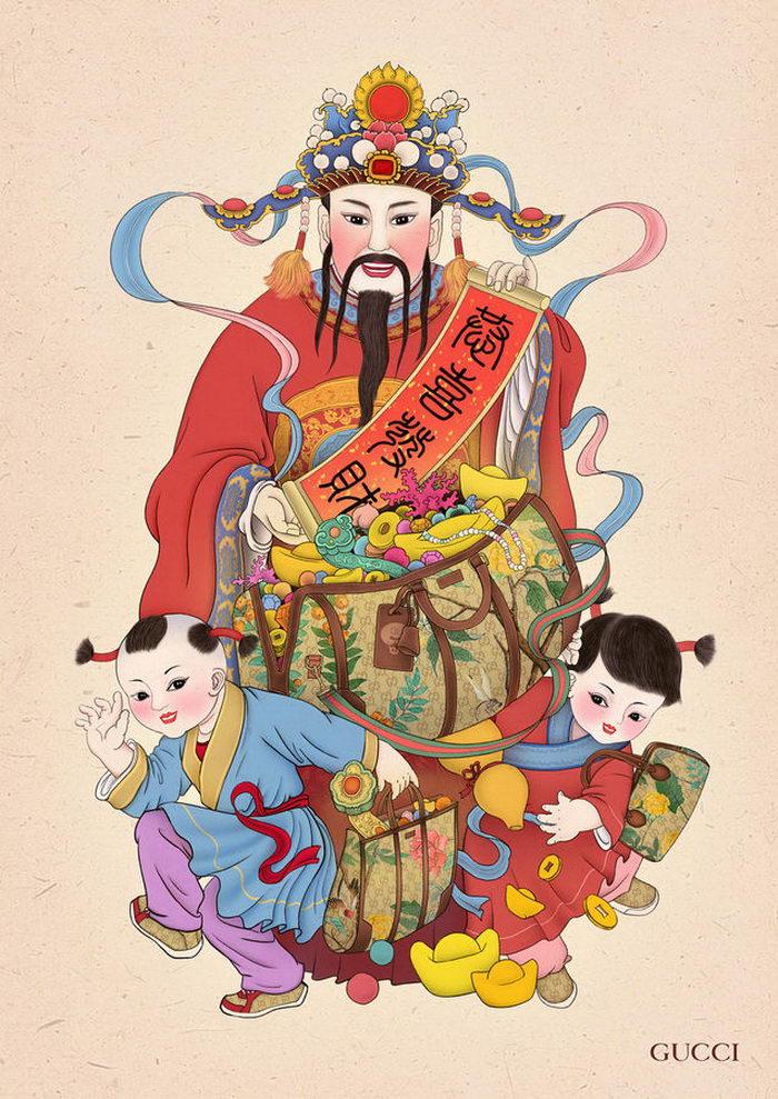 Принты Gucci с орнаментами китайских гобеленов